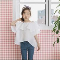 韩版童装2018夏装新款女童一字领公主上衣儿童短袖露肩荷叶边T恤