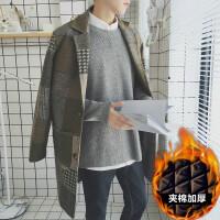 2017秋冬季帅气男士中长款风衣韩版修身格子毛呢大衣男装潮流外套