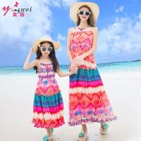 亲子装母女裙2018夏季新款海边沙滩裙子修身连衣裙长裙
