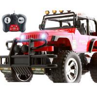 超大遥控车越野车漂移充电遥控汽车儿童玩具男孩玩具车赛车大脚车 【32cm 红色-手柄遥控】370A
