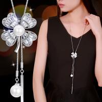 韩国版简约连衣裙毛衣链个性百搭长款四叶草项链女夏季挂件挂链