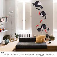 创意中式荷叶花壁饰壁挂电视背景墙墙壁装饰品挂件立体鱼墙饰墙贴