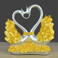 电视柜摆件新婚庆摆设创意客厅酒柜家居装饰品结婚礼物实用工艺品 白色 情侣天鹅金色