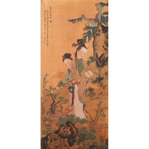 P1591焦秉贞《蕉阴思乡图》(启功、赵之谦、潘振镛提签拔、并有多位名家收藏章。)