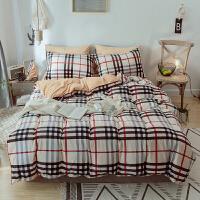 加厚保暖条格水晶绒床上用品四件套双人冬季法莱绒被套床单笠2.0m 2.0m(6.6英尺)床 床单式