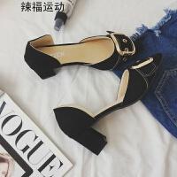 高跟凉鞋女夏新款韩版百搭方扣复古尖头时尚浅口中空粗跟单鞋