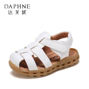 【达芙妮超品日 2件3折】鞋柜夏季韩版包头男童镂空透气软底防滑儿童凉鞋