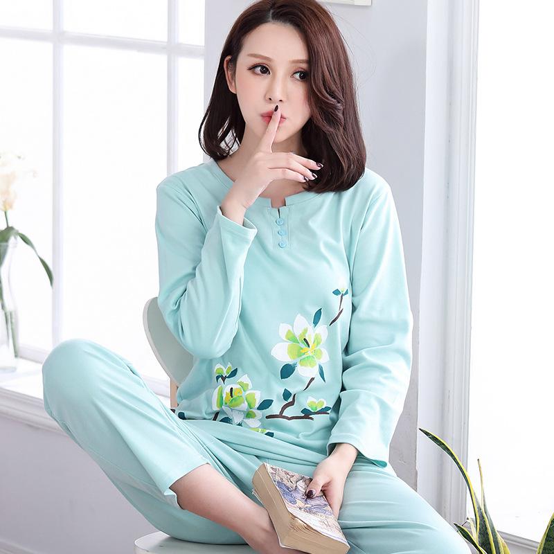 新款长袖睡衣女士纯棉春秋季中年人宽松·薄款两件套装家居服 一般在付款后3-90天左右发货,具体发货时间请以与客服协商的时间为准