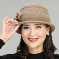 羊毛呢帽子女冬季中年妈妈小礼帽渔夫帽女士中老年人老人帽子妈妈