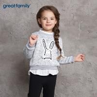 歌瑞家童装女童卫衣灰色2017冬装新款中大童女宝宝套头上衣 乐友