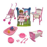 儿童玩具推车女孩过家家玩具带洋娃娃手推车折叠宝宝小推车 紫熊娃娃大套装 如图所示
