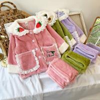 女宝宝法兰绒家居服套装冬装洋气睡衣两件套