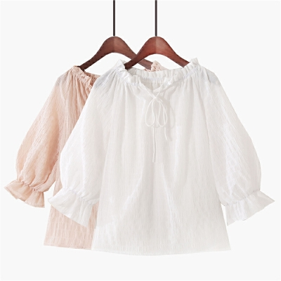 2018夏季新款韩版甜美小清新木耳边荷叶袖上衣系带一字肩雪纺衫女