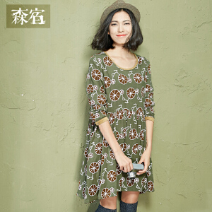 【低至1折起】森宿时常仰望秋装女修身清新复古范棉麻印花连衣裙长袖女短裙子 2547230