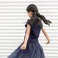 amii2017新款夏装童装女童短袖t恤圆领纯棉中大童儿童半袖上衣