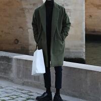 冬季中长款毛呢大衣男韩版潮流宽松呢子外套青年纯色休闲加厚风衣