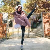 小狍冬季韩版女装粉色毛领宽松面包服chic棉衣学生短外套女潮 XS 现货