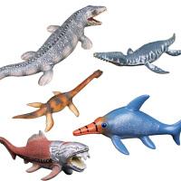 恐龙模型仿真玩具软胶实心搪胶动物滑齿龙沧龙 蛇颈龙 鱼龙