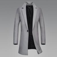 新款毛呢大衣男中长款韩版修身呢子风衣商务休闲黑色外套冬季 中灰 M