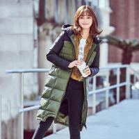 高梵2018冬季新款连帽撞色拼接长款羽绒服女 时尚韩版保暖外套潮