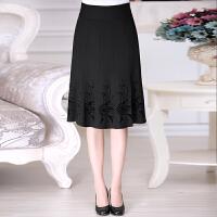 中老年半身裙秋冬中年女装半裙跳舞裙妈妈装秋装百褶裙黑色裙子潮