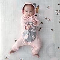 婴儿连体衣服宝宝新生儿冬季0岁3个月秋季满月春秋装长袖宝宝衣服