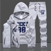 男大童卫衣秋冬运动套装12青少年加绒加厚马甲三件套中学生15岁胖