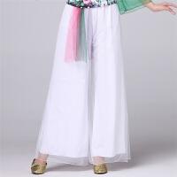 广场舞服装夏季 网纱长袖上衣阔腿裤舞蹈服演出服套装女 3X