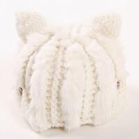 冬季保暖韩版时尚皮草帽子软妹学生女可爱猫耳朵兔毛帽甜美百搭潮
