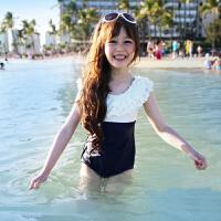 儿童泳衣女孩连体可爱中大童公主女童温泉游泳衣性感带帽泳装