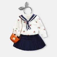 童装女童春装套装儿童休闲上衣裙子宝宝学院风两件套