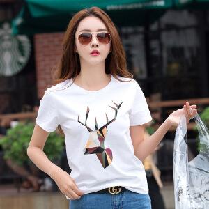 短袖t恤女夏装新款女装韩版宽松动物印花上衣大码打底衫体恤
