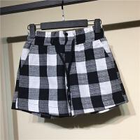 2018夏季新款黑白格子高腰短裤女夏百搭亚麻裤宽松阔腿裤
