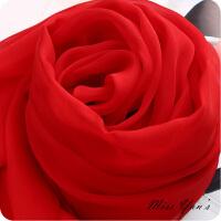 大红色桑蚕丝丝巾长款围巾女春秋冬秋季百搭薄款披肩纱巾 长160cm 宽65cm
