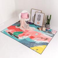 现代抽象艺术风客厅地毯日式无毛榻榻米沙发茶几垫子家用卧室毯子