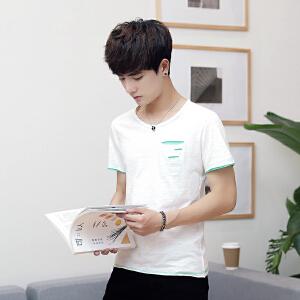 夏季男士休闲上衣破洞竹节棉短袖T恤多色时尚圆领打底衫