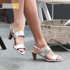 达芙妮集团 鞋柜时尚夏天简约高跟凉鞋 性感露趾粗跟女鞋1115303268
