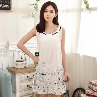 夏季韩版女士纯棉短袖睡裙夏天可爱学生卡通宽松加大码中长款睡衣 白色 白色裙