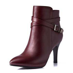 富贵鸟女鞋 秋季新款头层牛皮细跟尖头短靴高跟女靴防水台裸靴