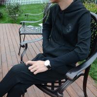 2017秋季新款个性时尚韩国男士修身连帽套头卫衣套装潮男休闲运动 黑色