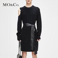 【到手价509,开学季,全场每满300减30 上不封顶,2.19-2.24】MOCO冬季新品性感露肩纯色羊毛连衣裙MA