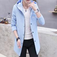 秋冬款风衣男中长款韩版修身外套纯色时尚休闲大衣