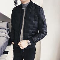 冬季轻薄羽绒服男韩版青年修身外套男棒球领男士短款羽绒服 黑色 L相当于M 以此类推