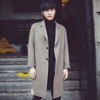 2017冬季潮流宽松呢子大衣男韩版长款加厚风衣青少年休闲毛呢外套