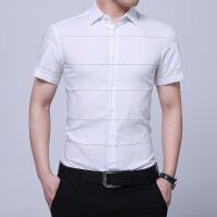 夏季短袖衬衫男士纯棉格子衬衣青少年韩版修身商务休闲条纹寸衫潮