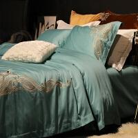 家纺复古宫廷风80支匹马棉四件套贡缎刺绣纯棉样板房1.5m1.8m床上用品 道格拉斯 白