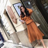 2017秋冬新款修身V领上衣打底衫百褶半身裙针织两件套装女