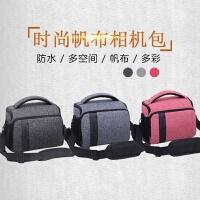相机包单反帆布便携防水200D800D700D80D70D尼康D7200等通用 小号 浅灰色+肩带+腰带