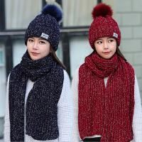 帽子女冬天围巾两件套韩版针织帽冬季加绒韩国毛线帽子女甜美可爱