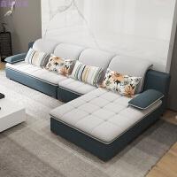 实木沙发床组合客厅家具小户型单双三懒人休闲北欧可拆洗布艺沙发 +独立单人位